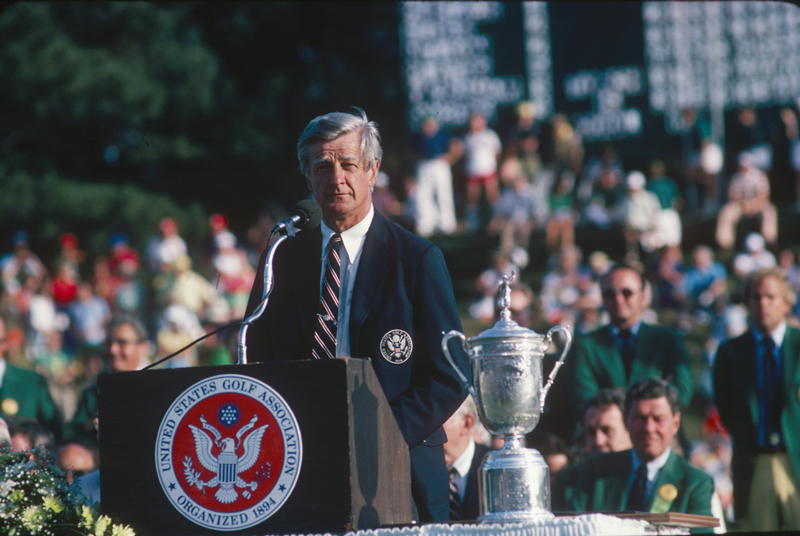 "Image shows Frank D. ""Sandy"" Tatum with the trophy during the 1979 U.S. Open Championship. June. (Copyright Unknown/Courtesy USGA Museum)"